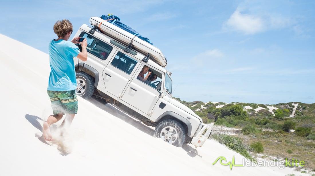 Sand Dünen fahren Lancelin Kitesafari Australien